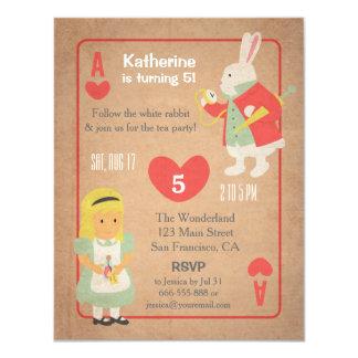 Vintage Alice in Wonderland Birthday Party Card