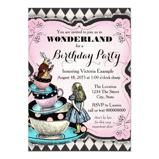Vintage Alice In Wonderland Birthday Party Invitation Zazzle Com