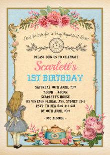 Alice in wonderland birthday invitations zazzle vintage alice in wonderland birthday tea party invitation filmwisefo