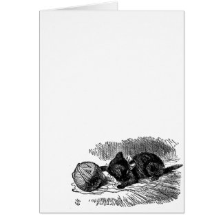 Vintage Alice in Wonderland black cat book drawing Card