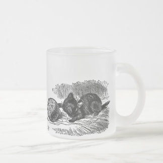 Vintage Alice in Wonderland black cat book drawing Frosted Glass Coffee Mug