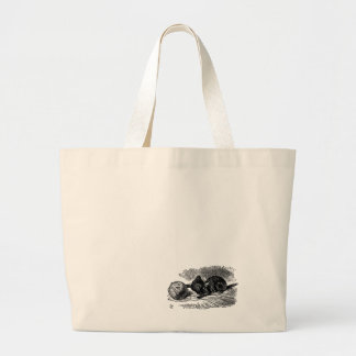 Vintage Alice in Wonderland black cat book drawing Large Tote Bag