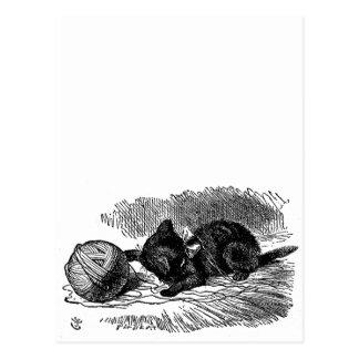 Vintage Alice in Wonderland black cat book drawing Postcard