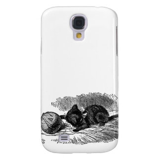 Vintage Alice in Wonderland black cat book drawing Samsung Galaxy S4 Case