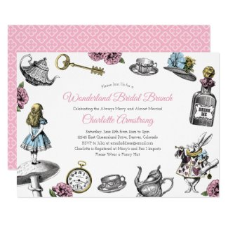 Vintage Alice in Wonderland Bridal Brunch Invitation