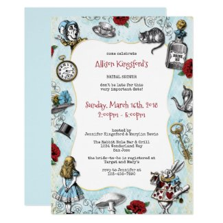 Vintage Alice in Wonderland Bridal Shower Invitation