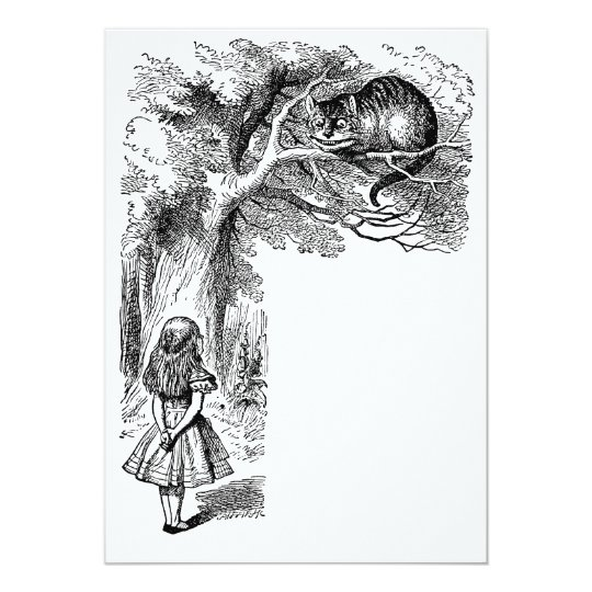 Vintage Alice in Wonderland Cat Invitation