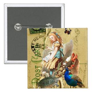 Vintage Alice in Wonderland collage Pinback Button
