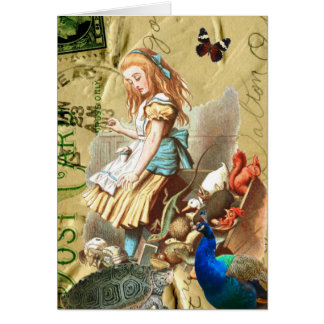 Vintage Alice in Wonderland collage Greeting Cards