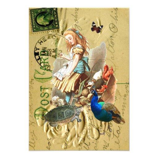Vintage Alice in Wonderland collage Custom Invitations