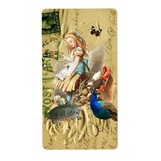 Vintage Alice in Wonderland collage Label