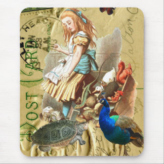 Vintage Alice in Wonderland collage Mouse Pad