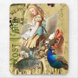 Vintage Alice in Wonderland collage Mousepads