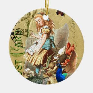 Vintage Alice in Wonderland collage Christmas Tree Ornaments