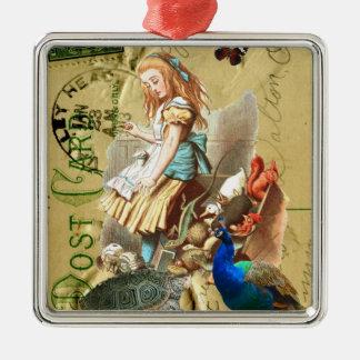 Vintage Alice in Wonderland collage Ornaments