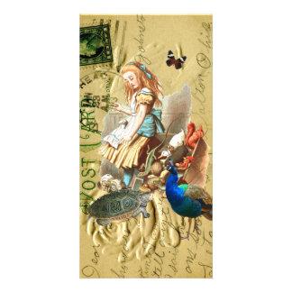 Vintage Alice in Wonderland collage Photo Card Template