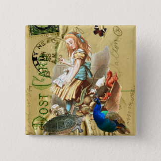 Vintage Alice in Wonderland collage Pinback Button
