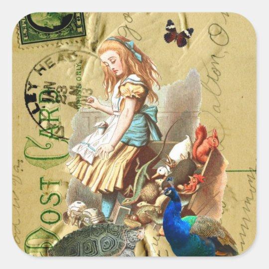 Vintage Alice in Wonderland collage Square Sticker