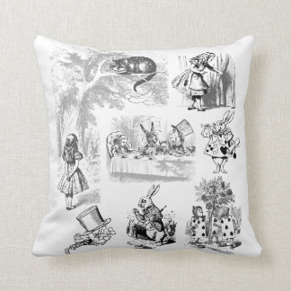 Vintage Alice In Wonderland Collection of Images Throw Pillow