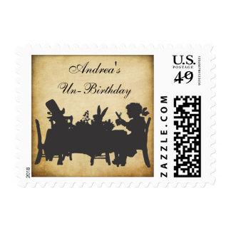 Vintage Alice in Wonderland Damask Tea Party Stamp
