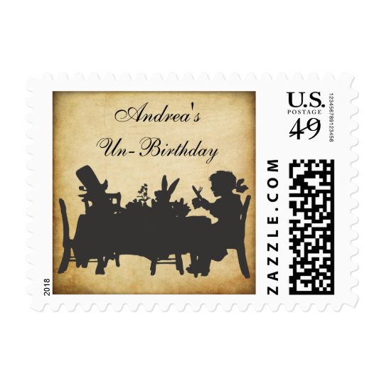Vintage Alice in Wonderland Damask Tea Party Stamp