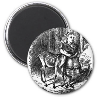 Vintage Alice in Wonderland deer fawn bambi print 2 Inch Round Magnet