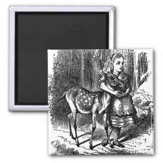 Vintage Alice in Wonderland deer fawn bambi print 2 Inch Square Magnet