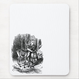Vintage Alice in Wonderland deer fawn bambi print Mouse Pad
