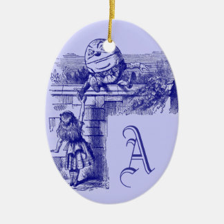 Vintage Alice in Wonderland Double-Sided Oval Ceramic Christmas Ornament