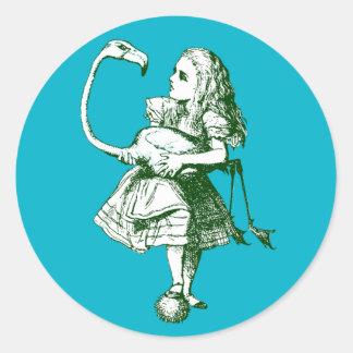 Vintage Alice in Wonderland Flamingo Classic Round Sticker