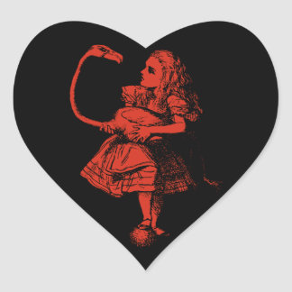 Vintage Alice in Wonderland Flamingo Heart Sticker