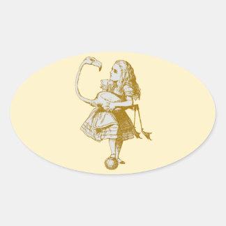 Vintage Alice in Wonderland Flamingo Oval Sticker