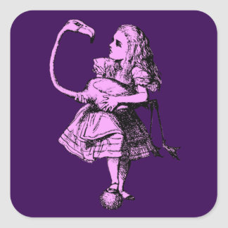 Vintage Alice in Wonderland Flamingo Square Sticker