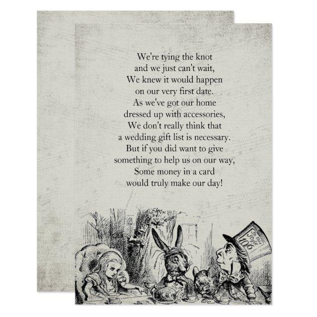 Vintage Alice in Wonderland Gift Poem Card | Zazzle.com