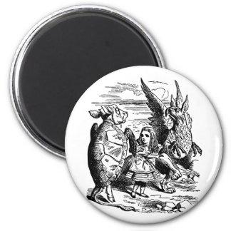 Vintage Alice in Wonderland, Gryphon, Mock Turtle 2 Inch Round Magnet