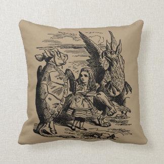 Vintage Alice in Wonderland, Gryphon, Mock Turtle Throw Pillow