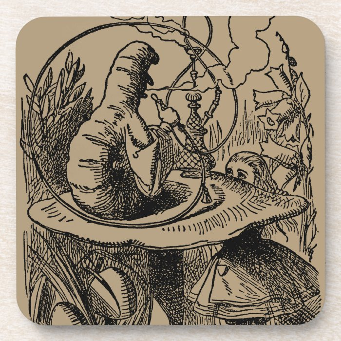 Vintage Alice in Wonderland Hookah Caterpillar Beverage Coaster