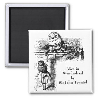 Vintage Alice in Wonderland, Humpty Dumpty on Wall 2 Inch Square Magnet