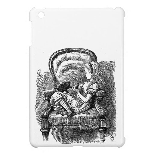 Vintage Alice in Wonderland in chair book drawing iPad Mini Cases