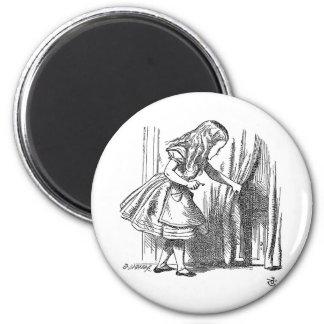 Vintage Alice in Wonderland looking for the door 2 Inch Round Magnet