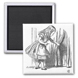 Vintage Alice in Wonderland looking for the door 2 Inch Square Magnet