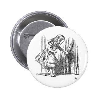 Vintage Alice in Wonderland looking for the door Button