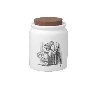 Vintage Alice in Wonderland looking for the door Candy Jars