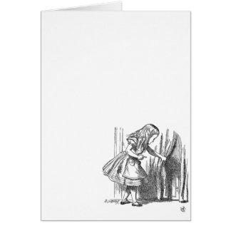 Vintage Alice in Wonderland looking for the door Card