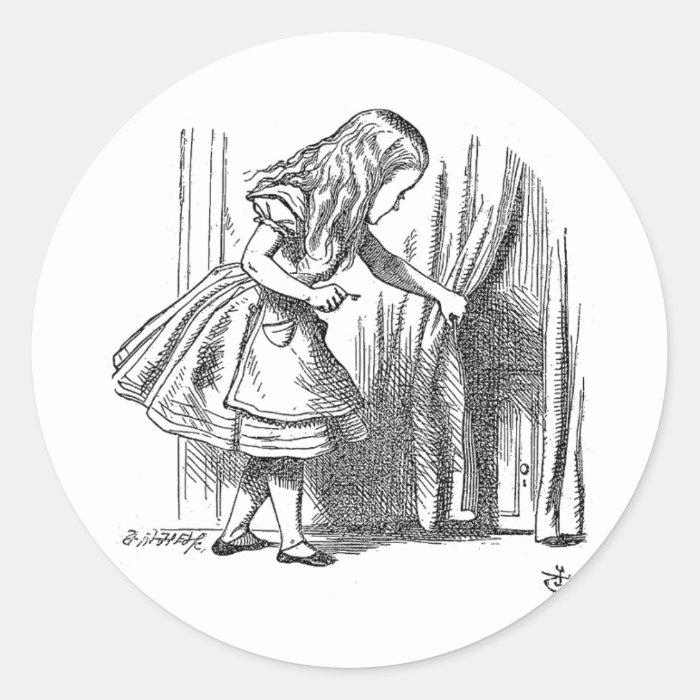 Vintage Alice in Wonderland looking for the door Classic Round Sticker