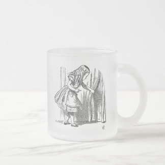 Vintage Alice in Wonderland looking for the door Frosted Glass Coffee Mug