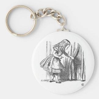 Vintage Alice in Wonderland looking for the door Basic Round Button Keychain