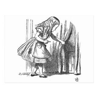 Vintage Alice in Wonderland looking for the door Postcards