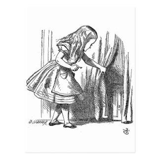 Vintage Alice in Wonderland looking for the door Post Card