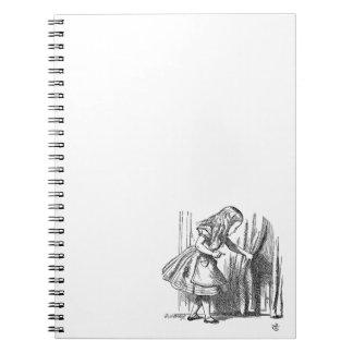 Vintage Alice in Wonderland looking for the door Spiral Notebook